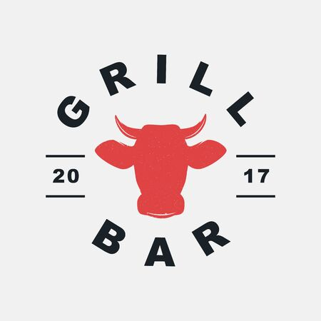 Grill Bar logo, label, badge, sign, emblem for barbecue, grill restaurant, steak house, meat store. Modern brush calligraphy. Vintage retro style. Vector illustration. Фото со стока - 129786275