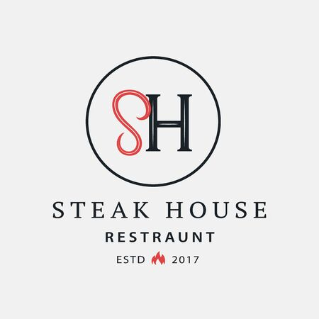 Steak House logo, label, badge, sign, emblem for barbecue, grill restaurant, steak house, meat store. Modern brush calligraphy. Vintage retro style. Vector illustration. Фото со стока - 129786276