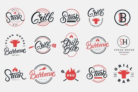 Set of hand written lettering logo, badge, label, sign, emblem for grill and barbecue restaurant, cafe, foods shop, steak house. Modern calligraphy. Vintage typography. Vector illustration. Logo