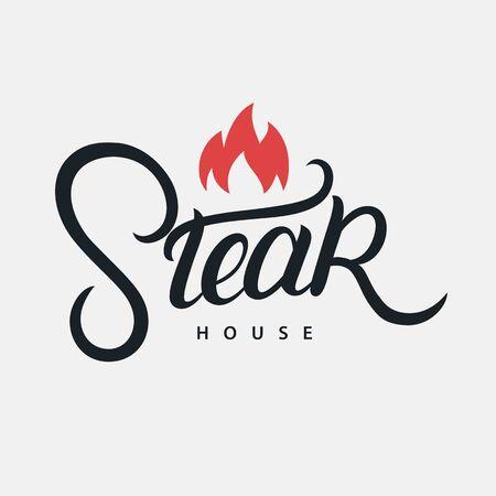 Steak House hand written lettering logo, label, badge, sign, emblem for barbecue, grill restaurant, steak house, meat store. Modern brush calligraphy. Vintage retro style. Vector illustration. Иллюстрация