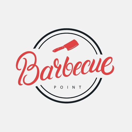 Barbecue hand written lettering logo, label, badge, sign, emblem for barbecue, grill restaurant, steak house, meat store. Modern brush calligraphy. Vintage retro style. Vector illustration. Фото со стока - 129786287