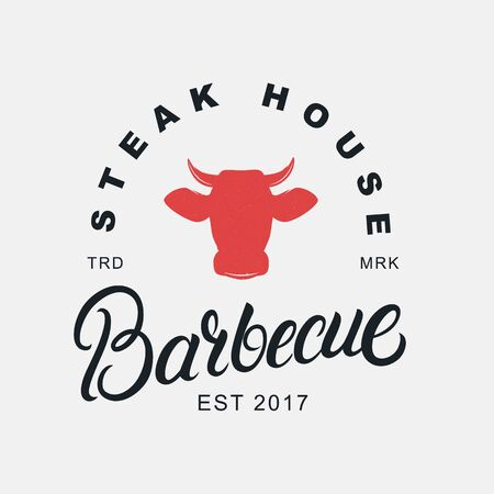 Barbecue hand written lettering logo, label, badge, sign, emblem for barbecue, grill restaurant, steak house, meat store. Modern brush calligraphy. Vintage retro style. Vector illustration. Фото со стока - 129786288