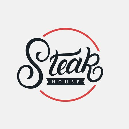 Steak House hand written lettering logo, label, badge, sign, emblem for barbecue, grill restaurant, steak house, meat store. Modern brush calligraphy. Vintage retro style. Vector illustration. Фото со стока - 129786289