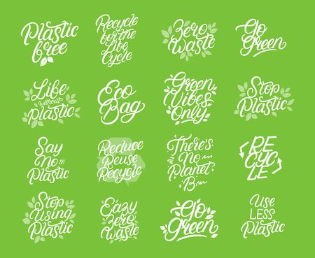 Zero waste, eco friendly, plastic polution big lettering set. Modern calligraphy quotes and phrases with green leaves for bag, tee, card, poster print. Vector illustration.
