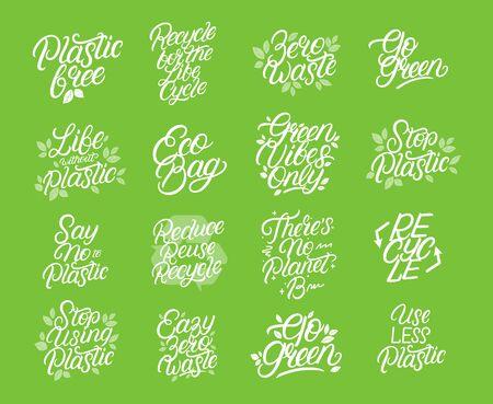 Zero Waste, umweltfreundlich, großes Schriftset für Plastikverschmutzung. Moderne Kalligraphie-Zitate und -Phrasen mit grünen Blättern für Tasche, Tee, Karte, Posterdruck. Vektor-Illustration.