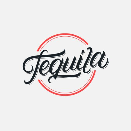 Tequila hand written lettering logo, label, badge, sigm, emblem for mexican restaurant, cafe, bar. Modern calligraphy. Vintage retro style. Vector illustration. 일러스트