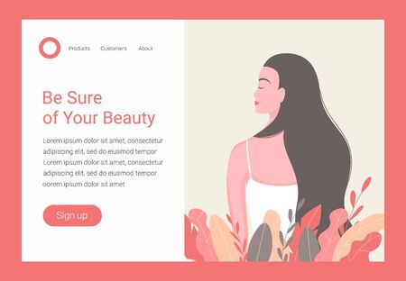 Hair care concept. Beautiful woman with long hair. Landing page design template for beauty, spa, wellness, natural products, cosmetics, body care. Vector illustration.