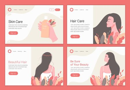 Hair, skin care concept. Beautiful woman with long hair. Landing page design template for beauty, spa, wellness, natural products, cosmetics, body care. Vector illustration.
