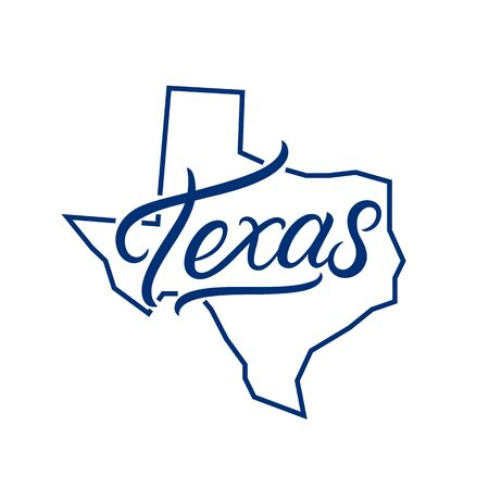 Texas hand written lettering logo, emblem, label with map. Print for tee, typography. USA Texas calligraphy design. Vector illustration.