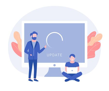 System update concept. People update operation system. Trendy flat style. Vector illustration
