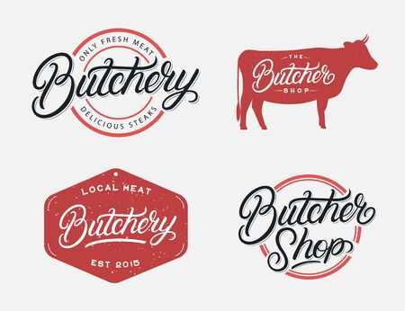 Set of Butcher Shop and Butchery hand written lettering logo, label, badge, emblem, sign. Template for meat shop, sticker, print, business works. Vintage retro style. Vector illustration