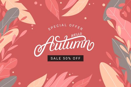 Hello Autumn hand written lettering, calligraphy. Trendy flat style leaves on red background. Seasonal sale web banner template. Vector illustration. Иллюстрация