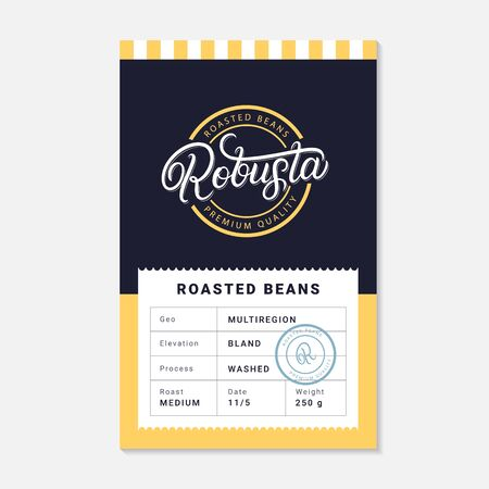 Robusta coffee beans packaging label design template. Hand written lettering. Vintage retro old school style. Vector illustration.