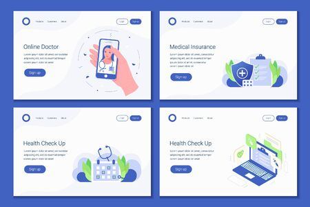 Set of 4 landing page design templates for online medical support and insuranse, health care, check up, online consultation. Modern concepts for website. Trendy flat style. Vector illustration. Çizim