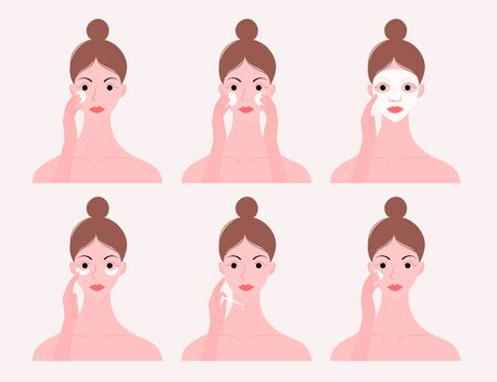 Skin care routine. Simple woman face with a different facial procedures: makeup remover, cleancing foam, eye patchs, mack, surum, cream. Flat style. Vector illustration.