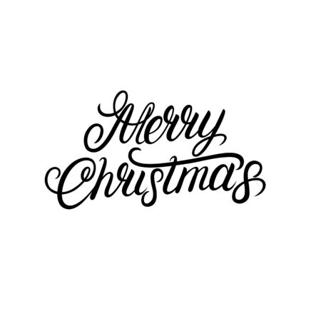 Merry Christmas hand written lettering tex. Inscription to winter holiday design. Modern calligraphy. Isolated on background. Vector illustration.