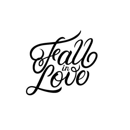 Hand written autumn season inscription Fall in Love. Modern brush calligraphy. Trendy leaves background. Vector illustration.