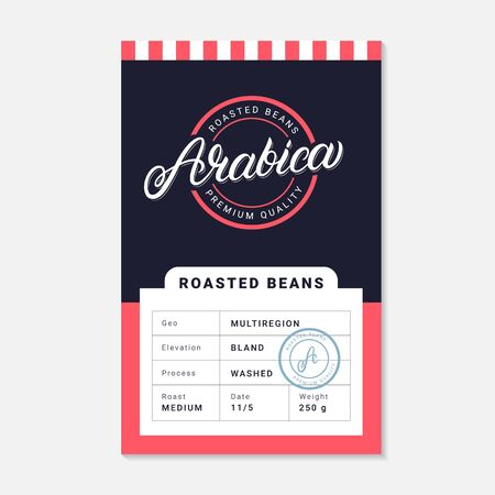 Arabica coffee beans packaging label design template. Hand written lettering. Vintage retro old school style. Vector illustration.