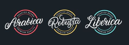 Arabica, Robusta, Liberica hand written lettering coffee logo, label, badge, sign, emblem set. Calligraphy, typography inscription. Vintage, retro style. Vector illustration.