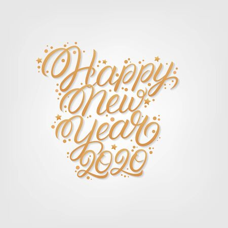 Happy new year 2020. Hand written lettering text. Perfect calligraphy. Golden numbers and letters with confetti. White background. Vector illustration.