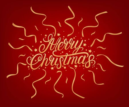 Merry Christmas 2020 hand written lettering text. Golden words with confetti and ribbons. Red background. Vector illustration.