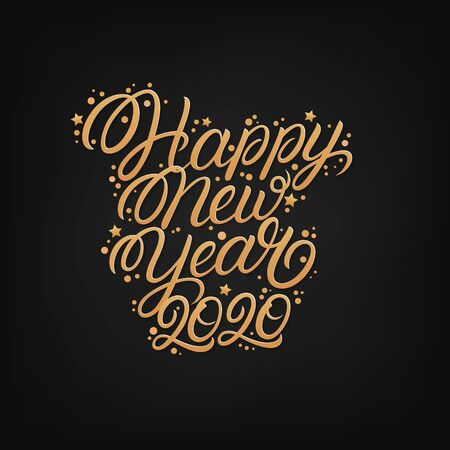 Happy new year 2020. Hand written lettering text. Perfect calligraphy. Golden numbers and letters with confetti. Black background. Vector illustration. 일러스트