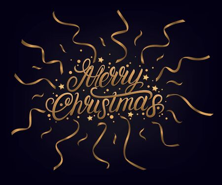 Merry Christmas 2020 hand written lettering text. Golden words with confetti and ribbons. Dark background. Vector illustration. 일러스트