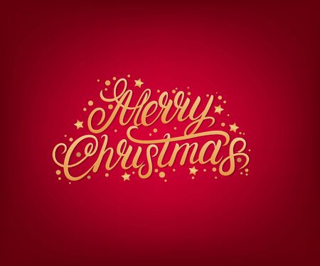 Merry Christmas 2020 hand written lettering text. Golden words with confetti. Perfect calligraphy. Red background. Vector illustration.