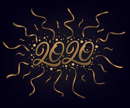 Happy new year 2020. Hand written lettering text. Golden numbers with confetti and many ribbons. Black background. Vector illustration.