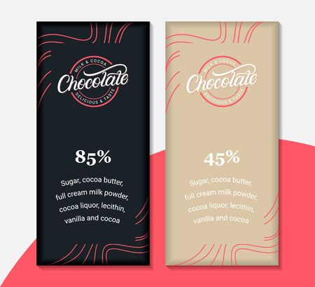 Chocolate packaging label design templates.