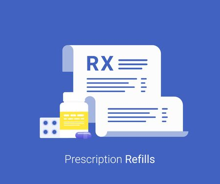 Pharmacy concept. Rx form and pills.