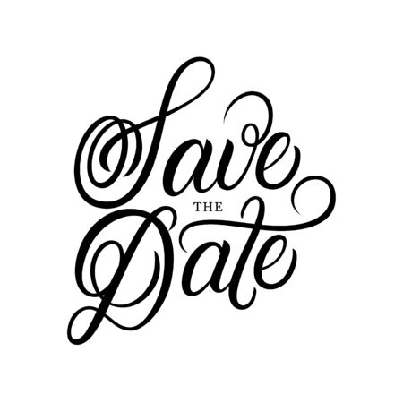 Save the date hand written lettering text.