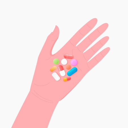 Pharmacy concept. Pills and tablet on human hand.