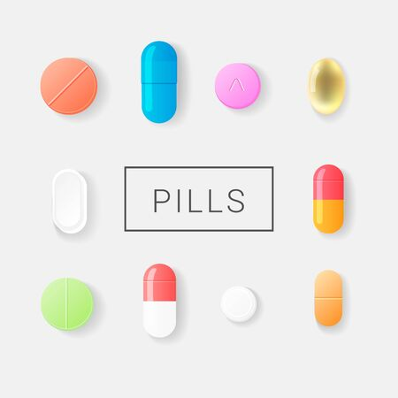 Pharmasy colorful pills, blisters with tablets and capsules set. Isolated on background. Realistic flat style. Vector illustration.