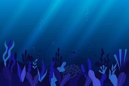 Ocean, sea underwater background with blue seaweed, coral reefs and fish silhouettes. Flat style. Vector illustration.