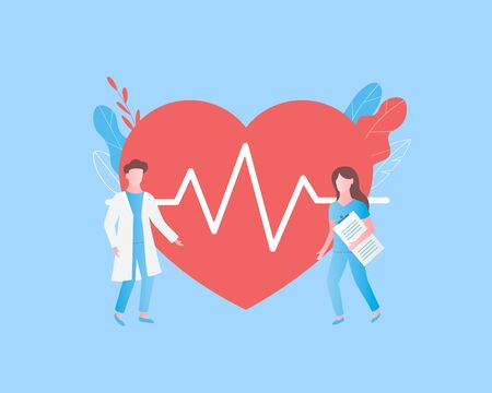 Diagnosis of heart disease concept. Heart cheering cardiogram, doctor and nurse. Trendy flat style. Vector illustration.