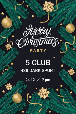 Merry Christmas party lettering text flyer, poster with gift box, shiny golden bow, ribbons, sparkling confetti and christmas tree branches on black background. Realistic festive style. Decoration element for design. Vector illustration.
