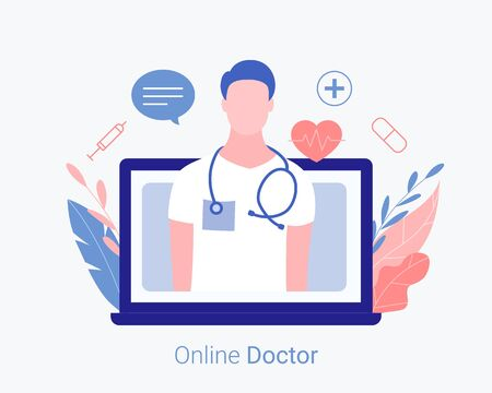 Online doctor concept. Laptop screen with medical assistance and doctor online consultation. Trendy flat style. Vector illustration.