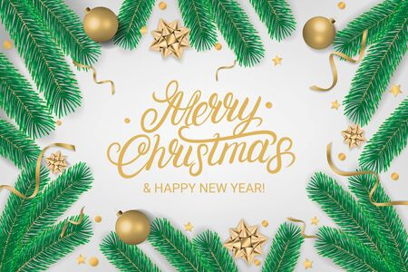 Merry Christmas party lettering text flyer with gift box, shiny golden bow, ribbons, sparkling confetti and christmas tree branches on gray background. Realistic festive style. Decoration element for design. Vector illustration.