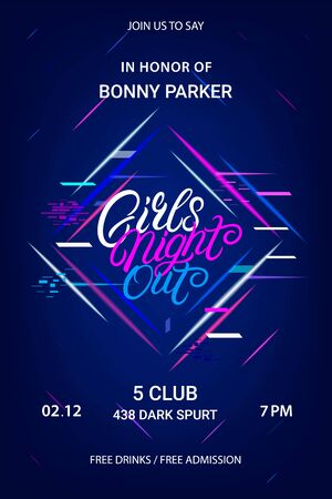Girls night out hand written lettering text. Party invitation flyer, poster with neon lights. Vector illustration. Vectores