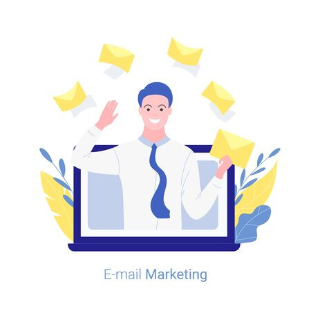 E-mail marketing, internet advertisement, online promotion concept. Young man marketer jumps out of a laptop screen with a mail in his hand. Trendy flat style. Vector illustration.