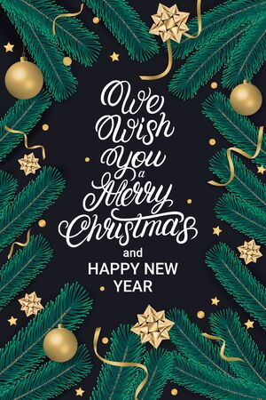 We wish you Merry Christmas party lettering text flyer with gift box, shiny golden bow, ribbons, sparkling confetti and christmas tree branches on black background. Realistic festive style. Decoration element for design. Vector illustration.