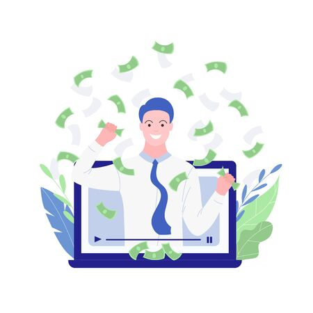 Training how to become successful. Video training about money. Successful businessman character shares knowledge on making big money. Rrich man catches falling bills. Trendy flat style. Vector.