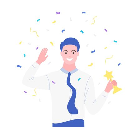 Business success concept. Business man celebrating victory. Man holding gold cup. Achievement reward. Isolation on white background. Trendy flat style. Vctor illustration.