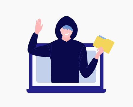 Computer hacker character. Cybercriminal man steals data folder and waves goodbye. Trendy flat style. Vector illustration.