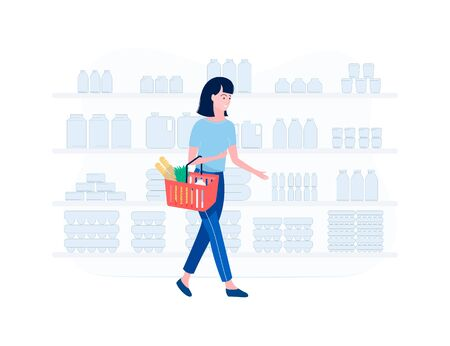 Supermarket shopping concept. Young woman shopping for groceries. Girl in a supermarket. woman goes with a basket with food in her hands. Trendy flat style. Vector illustration. Ilustracja