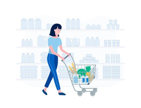 Supermarket shopping concept. Young woman shopping for groceries. Girl in a supermarket. Woman rolls a grocery cart with food products. Trendy flat style. Vector illustration. Ilustracja