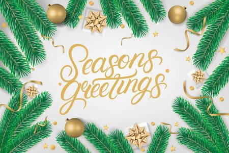 Seasons Greetings hand written lettering text. Calligraphy quote on gray background with gift box, shiny golden bow, ribbons, sparkling confetti and green christmas tree branches. Vector illustration