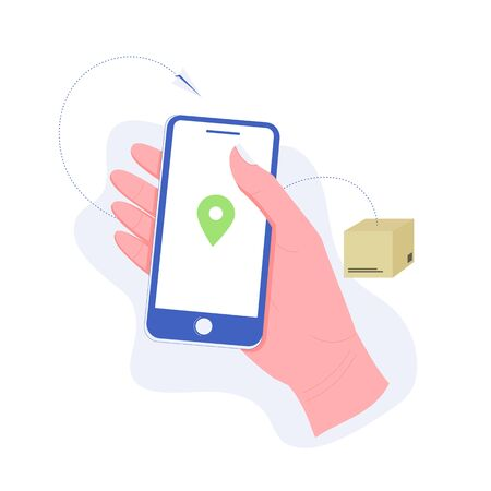 Delivery, package or order tracking concept. Hand holding a smartphone with map mark. Concept of free, fast delivery, shipping. Trendy flat style. Vector illustration. Illusztráció