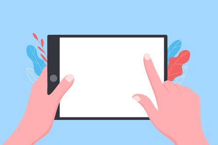 Internet tablet app concept. User hold tablet and pointing on the screen. Trendy flat style. Vector illustration.
